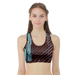 Red And Black High Rise Building Sports Bra with Border
