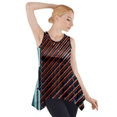 Red And Black High Rise Building Side Drop Tank Tunic