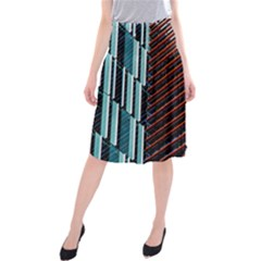 Red And Black High Rise Building Midi Beach Skirt