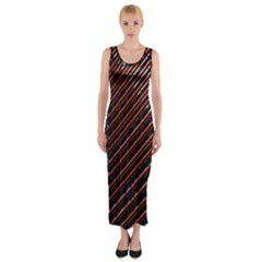 Red And Black High Rise Building Fitted Maxi Dress