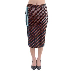 Red And Black High Rise Building Midi Pencil Skirt