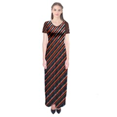 Red And Black High Rise Building Short Sleeve Maxi Dress