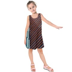 Red And Black High Rise Building Kids  Sleeveless Dress