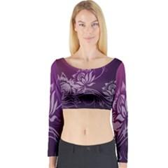 Purple Lotus Long Sleeve Crop Top