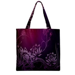 Purple Lotus Zipper Grocery Tote Bag