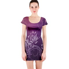 Purple Lotus Short Sleeve Bodycon Dress