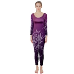 Purple Lotus Long Sleeve Catsuit