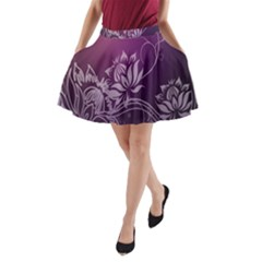 Purple Lotus A-Line Pocket Skirt