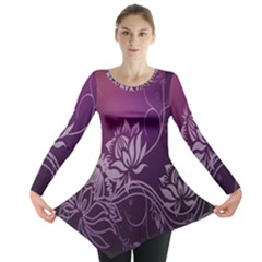 Purple Lotus Long Sleeve Tunic