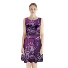 Purple Lotus Sleeveless Chiffon Waist Tie Dress