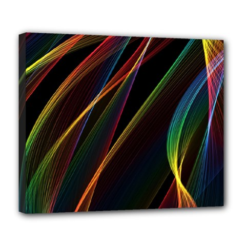Rainbow Ribbons Deluxe Canvas 24  x 20