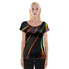 Rainbow Ribbons Women s Cap Sleeve Top