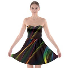Rainbow Ribbons Strapless Bra Top Dress
