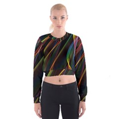 Rainbow Ribbons Women s Cropped Sweatshirt