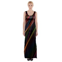 Rainbow Ribbons Maxi Thigh Split Dress