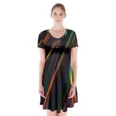 Rainbow Ribbons Short Sleeve V-neck Flare Dress