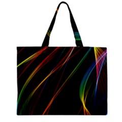 Rainbow Ribbons Medium Zipper Tote Bag