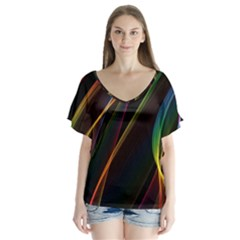 Rainbow Ribbons Flutter Sleeve Top