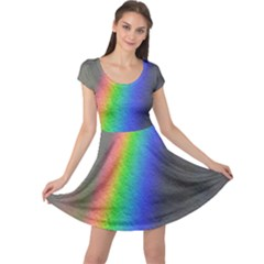 Rainbow Color Spectrum Solar Mirror Cap Sleeve Dresses