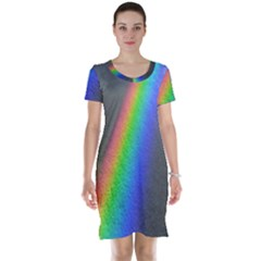 Rainbow Color Spectrum Solar Mirror Short Sleeve Nightdress