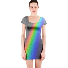 Rainbow Color Spectrum Solar Mirror Short Sleeve Bodycon Dress