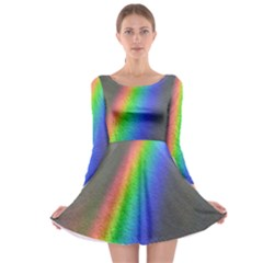 Rainbow Color Spectrum Solar Mirror Long Sleeve Skater Dress