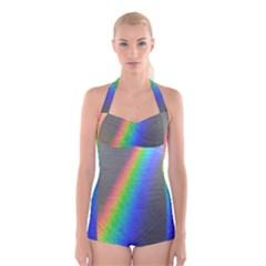 Rainbow Color Spectrum Solar Mirror Boyleg Halter Swimsuit