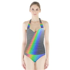 Rainbow Color Spectrum Solar Mirror Halter Swimsuit