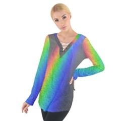 Rainbow Color Spectrum Solar Mirror Women s Tie Up Tee