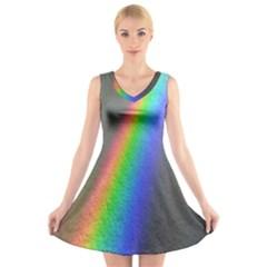 Rainbow Color Spectrum Solar Mirror V Neck Sleeveless Skater Dress