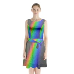 Rainbow Color Spectrum Solar Mirror Sleeveless Chiffon Waist Tie Dress