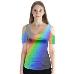 Rainbow Color Spectrum Solar Mirror Butterfly Sleeve Cutout Tee