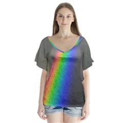 Rainbow Color Spectrum Solar Mirror Flutter Sleeve Top