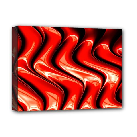 Red Fractal  Mathematics Abstact Deluxe Canvas 16  x 12
