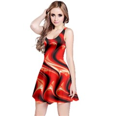 Red Fractal  Mathematics Abstact Reversible Sleeveless Dress