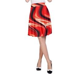 Red Fractal  Mathematics Abstact A Line Skirt