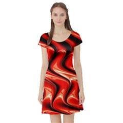 Red Fractal  Mathematics Abstact Short Sleeve Skater Dress
