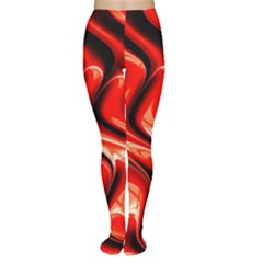 Red Fractal  Mathematics Abstact Women s Tights