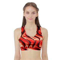 Red Fractal  Mathematics Abstact Sports Bra With Border