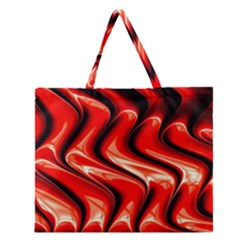 Red Fractal  Mathematics Abstact Zipper Large Tote Bag
