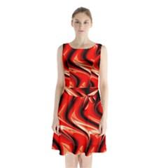 Red Fractal  Mathematics Abstact Sleeveless Chiffon Waist Tie Dress
