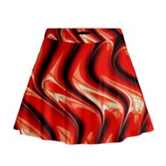 Red Fractal  Mathematics Abstact Mini Flare Skirt