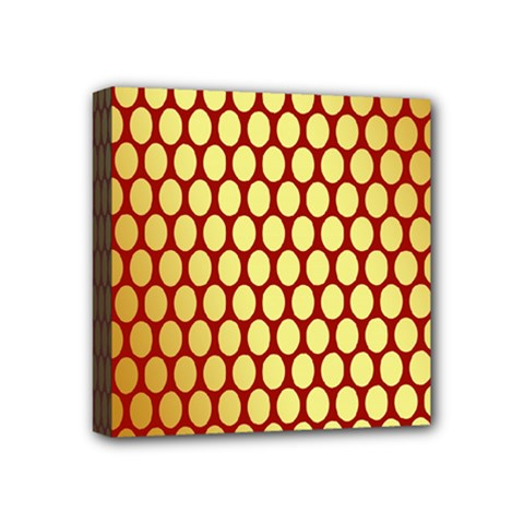 Red And Gold Effect Backing Paper Mini Canvas 4  X 4