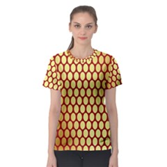 Red And Gold Effect Backing Paper Women s Sport Mesh Tee