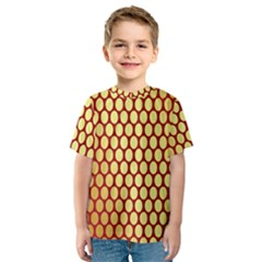 Red And Gold Effect Backing Paper Kids  Sport Mesh Tee