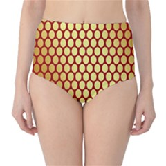 Red And Gold Effect Backing Paper High Waist Bikini Bottoms