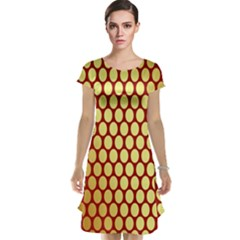 Red And Gold Effect Backing Paper Cap Sleeve Nightdress