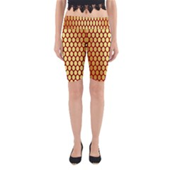 Red And Gold Effect Backing Paper Yoga Cropped Leggings