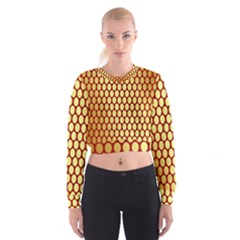 Red And Gold Effect Backing Paper Women s Cropped Sweatshirt