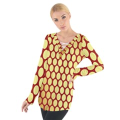Red And Gold Effect Backing Paper Women s Tie Up Tee